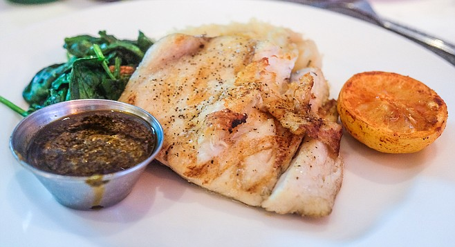 The southern hemisphere fish, Barramundi, referred to on the menu as Australian sea bass.