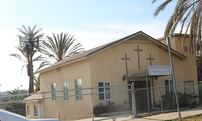 """New Bethel Baptist. """"It's a steeple,"""" said the worker, """"it's for tele-communications."""""""