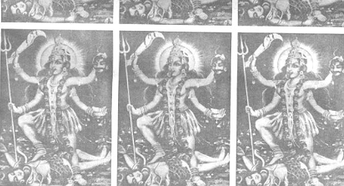 Kali unwittingly steps on Shiva's chest.