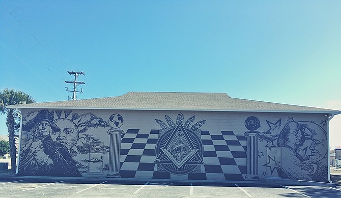 A mural behind the local Masonic lodge in North Myrtle Beach