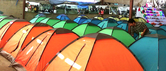 There were about 66 tents for two people each and 12 bunkbeds for children.