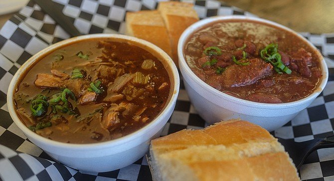 Gumbo on the left, red beans and rice with smoked sausage on the right.