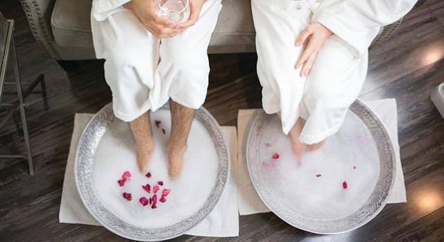 Rose petal foot soak at Spa Kingston