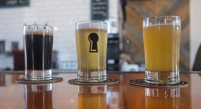 A flight of beers at Latchkey Brewing Company