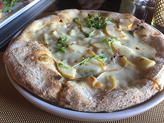 Pear and gorgonzola pizza with 36-hour fermented dough