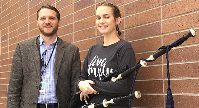 Helix bagpipe instructor Shawn Eccles and pipe major Anna