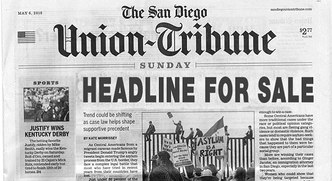 "A footnote advises that ""paid items in the San Diego Union-Tribune are labeled 'advertisement' or 'paid post.'"""