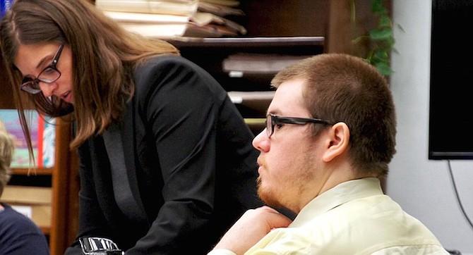 Defense attorney Itzhaki and defendant David McGee in court