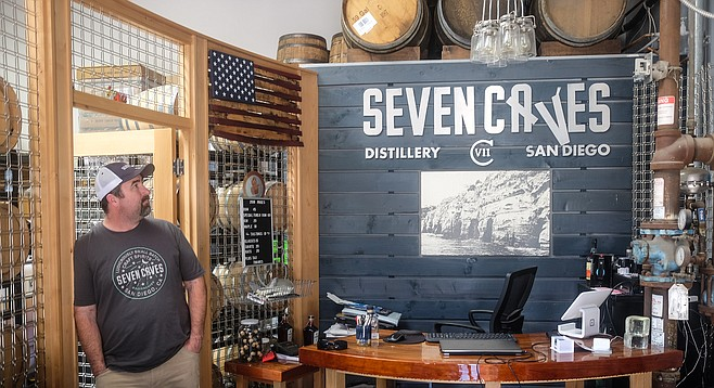 Geoff Longenecker makes small batch spirits at his distillery and tasting room in Miramar.