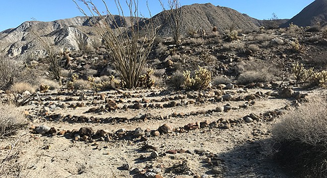 A mini-labyrinth can be found on the Ocotillo Ridge Trail
