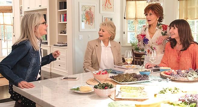Diane Keaton, Candice Bergen, Jane Fonda, and Mary Steenburgen prepare to Book Club audiences.