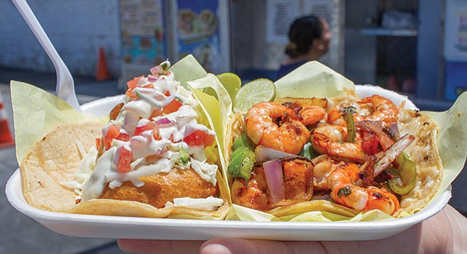 Mariscos Alex — fried and grilled shrimp