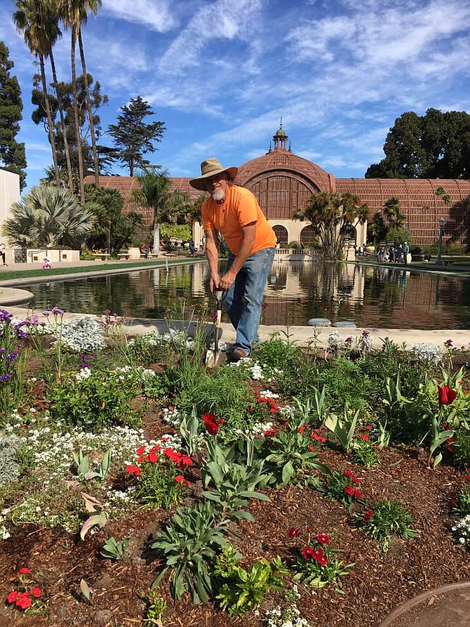 John Noble of Botany for Kids transforming the lily pond garden.