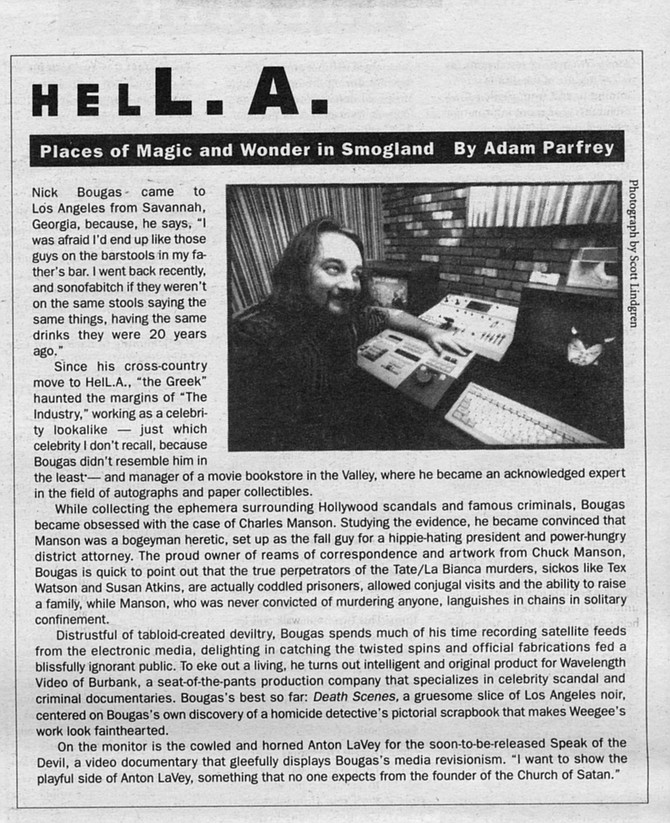 HELL.A. column by Adam Parfrey from Nov. 5, 1992 Reader on Charles Manson follower Nick Bougas