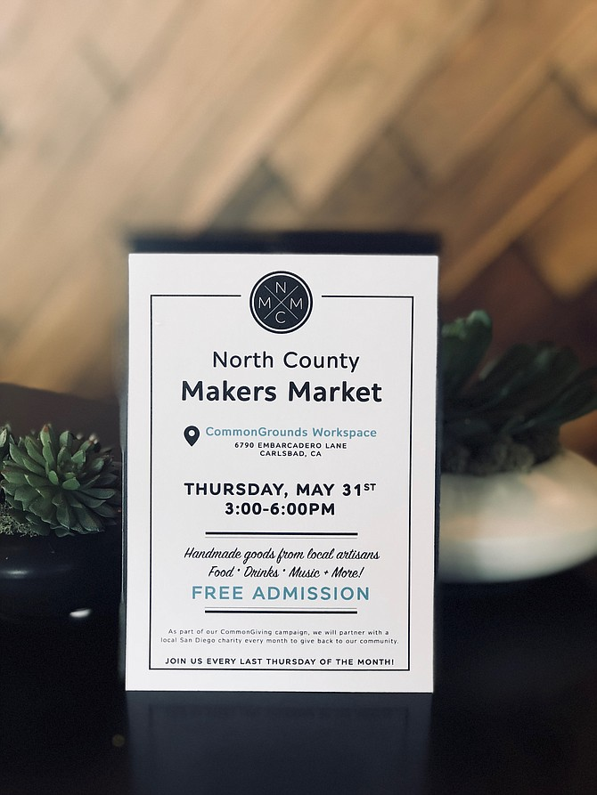 North County Makers Market  Thursday, May 31 3:00 - 6:00pm  Donating 20% of proceeds to Helen Woodward Animal Center  FREE ADMISSION  Hope you can join us!