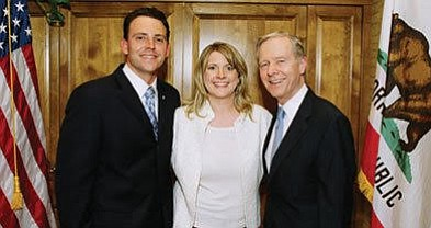 """Nathan, Mindy, and ex-governor Pete Wilson. Nathan: """"If elected, the income I would earn from that position would be $172,451."""""""