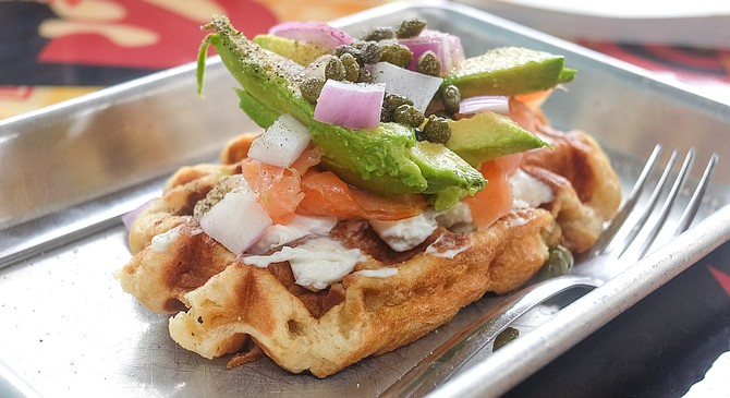 A smoked salmon waffle deviates from the norm