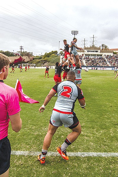 Line out — similar to a soccer throw in, but each team hoists one of its players high above their own shoulders.
