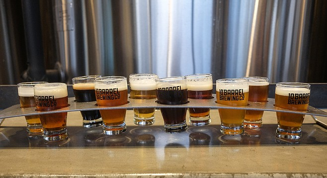 At 10 Barrel, a fixed taster flight offers 10 beers for 10 dollars.