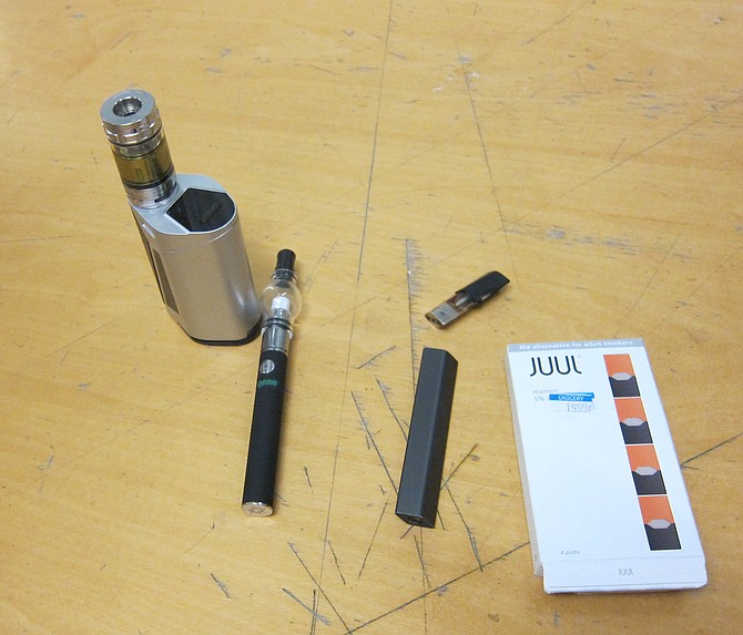 Jesse showed me some vaping devices popular with kids.