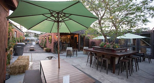 The drinking patio of Helix Brewing Co. in La Mesa