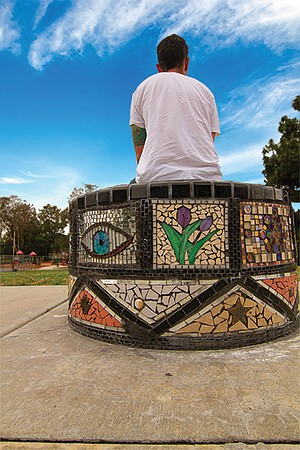 The mosaics include hand cut glass, broken floor tiles, ceramic tiles purchased from a mosaic supply store, handmade tiles created from high-fired clay, millefiori glass tiles, and stones and rocks.
