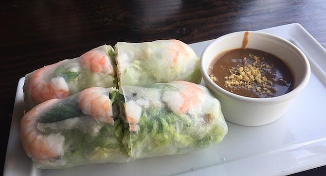 Fresh spring rolls with basil, shrimp, and pork