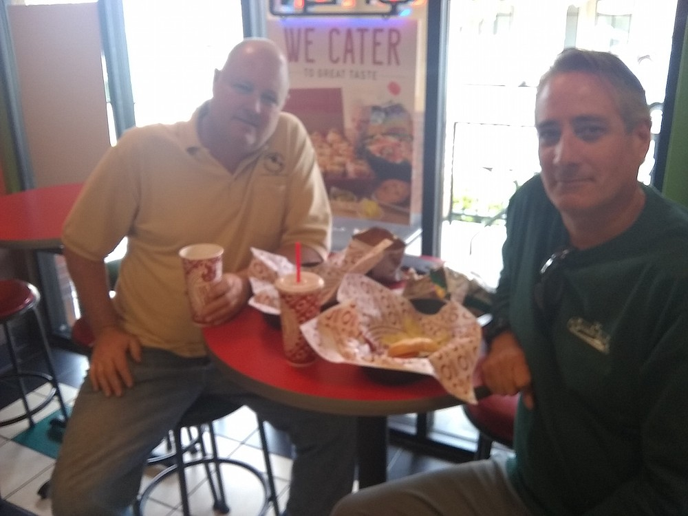 """Flynt and Coleman. """"When I'm on the road I always try to find a Quiznos."""""""