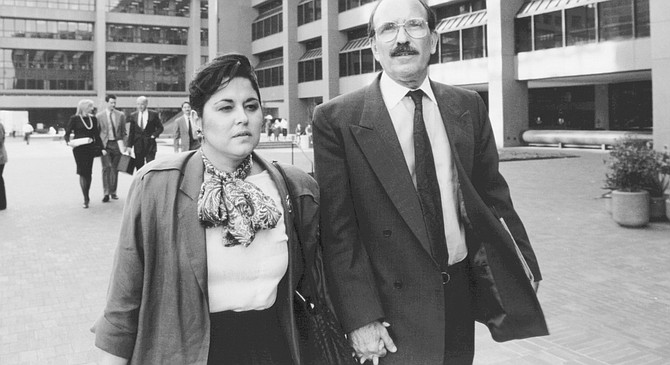 Mayor Susan Golding and Dick Silberman outside U.S. courthouse, San Diego, 1989.