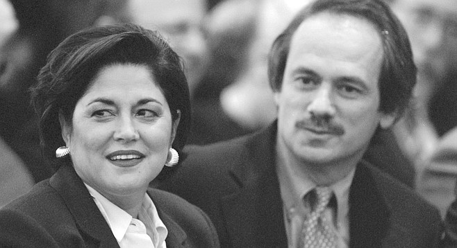 Susan Golding and Larry Lucchino, Moores and Lucchino were holding numerous private meetings with then-Mayor Susan Golding.