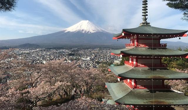 Chureito Pagoda and Mount Fuji from Arakurayama Sengen Park, about an hour and 45 minutes from Tokyo.