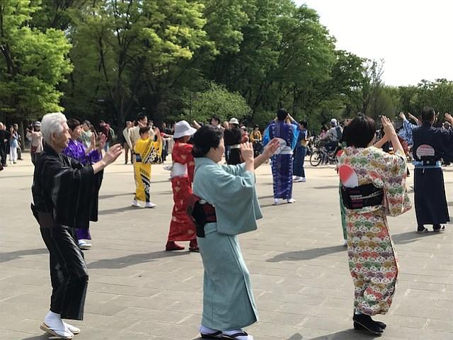 Traditional Japanese dance, Ueno Park, Tokyo.