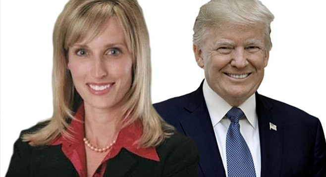 """Kristin Gaspar and Trump. """"This is what Gov. Brown classifies as low-life politicians. Well, here we are."""""""