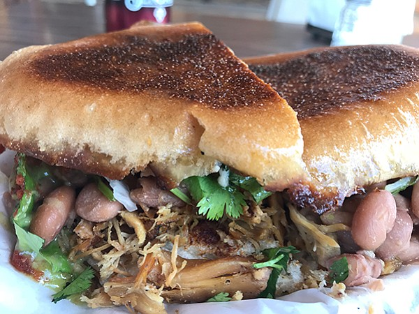 Chicken torta — it's the crispy BBQ'd bread that does it
