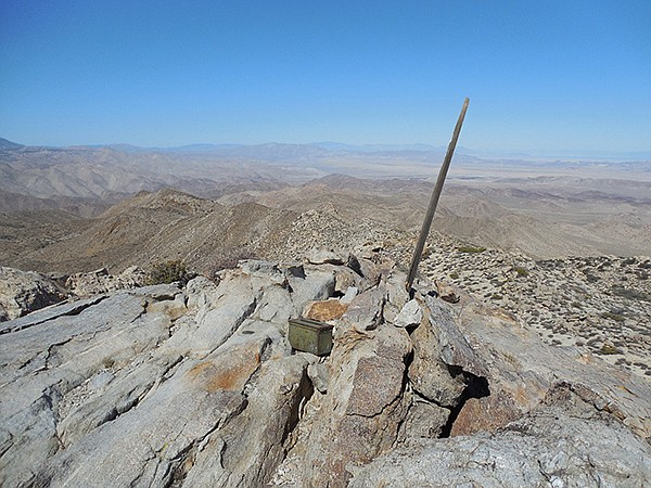 Jacumba Mountain: The summit, with register and view