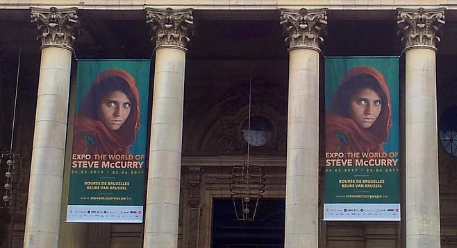 Sharbat Gula's image outside the Palais de la Bourse in Brussels