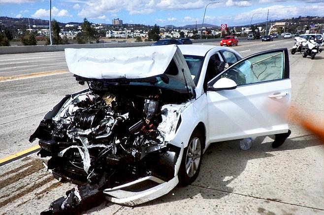 Evidence photo of smashed Hyundai