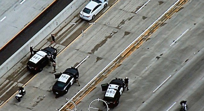 San Diego Police helicopter captured this image of Hyundai (top) at end of chase.