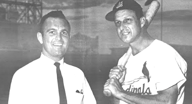 Jerry Gross with Stan Musial, St. Louis, 1960. By the time he came to San Diego, Gross had been a broadcaster in two World Series.