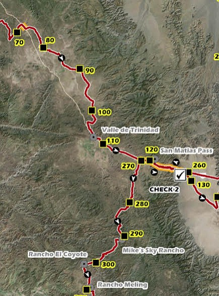 The crash happened at race mile 110 (110 miles southeast from Ensenada), about 15 miles before the second check point.