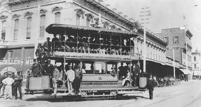 San Diego had the first electric streetcar service on the West Coast.