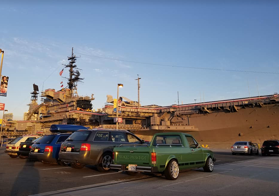 "The gray USS Midway is a ""killer-backdrop."""