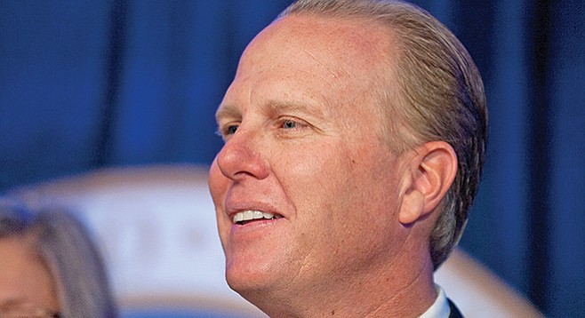 Mayor Faulconer. GEO's May 7 donation is the latest in a string of gifts from the company to causes favored by the mayor.
