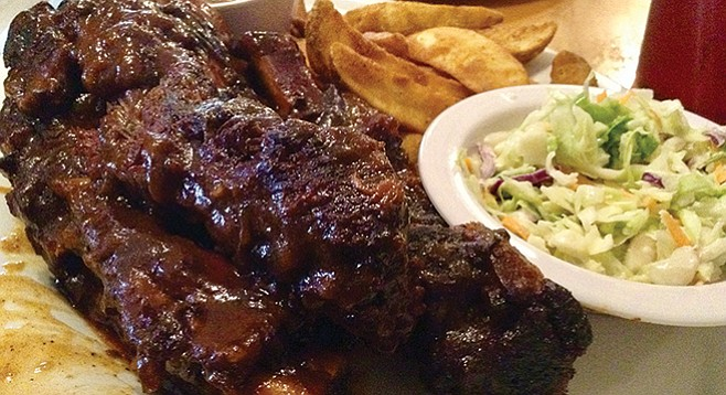All you can eat beef ribs. And usually, these three are about all you can eat