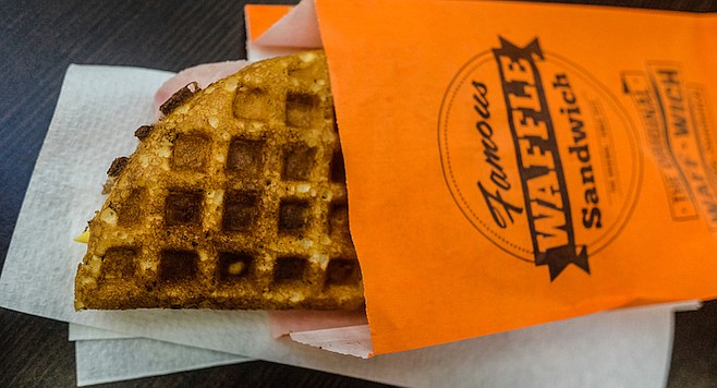 Ham and American cheese, inside a fresh, folded waffle