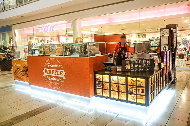 It's confirmed: this Famous Waffle Sandwich mall kiosk definitely exists.
