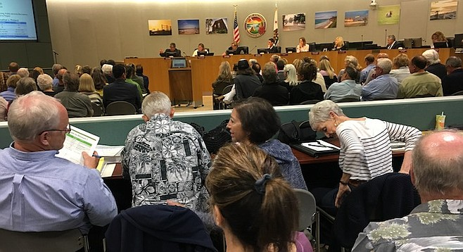 "Encinitas council meeting. ""People are here to speak and are leaving in droves. They're so ticked off."""