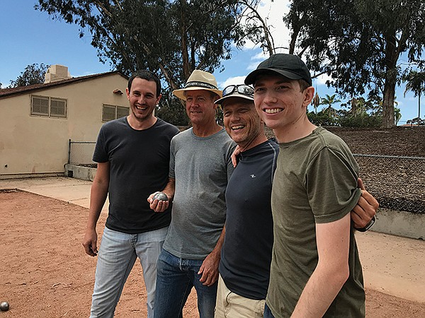 Nothing's dead serious. Vincent, Troy, Gareth, son Chris after match.
