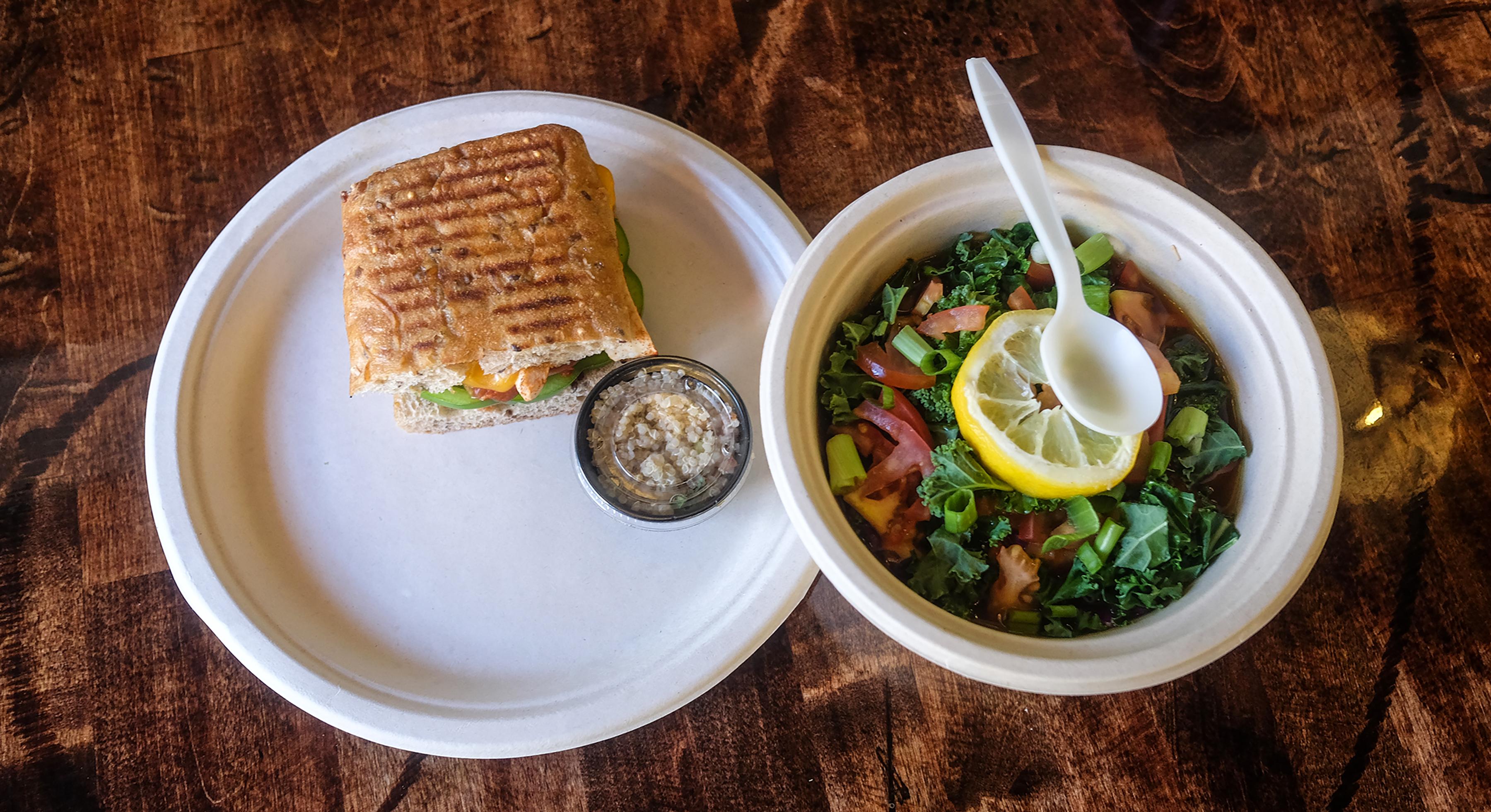 """A half panini and """"turmeric soup bowl"""""""