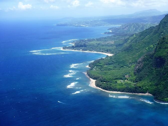Aerial coastal view of Kauai, Hawaii.